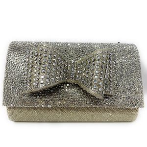 Champagne clutch purse with bow